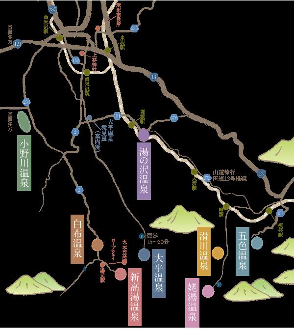 米沢八湯MAP